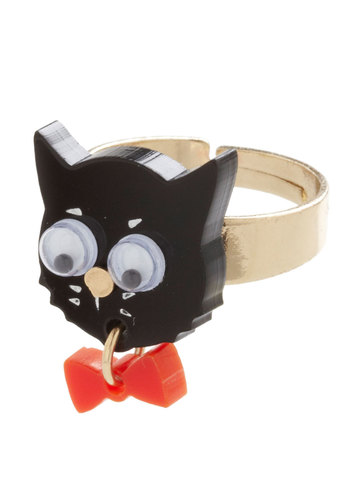 Here, Pretty Pretty Pretty Ring - Black, Red, Print with Animals, Bows, Quirky, International Designer