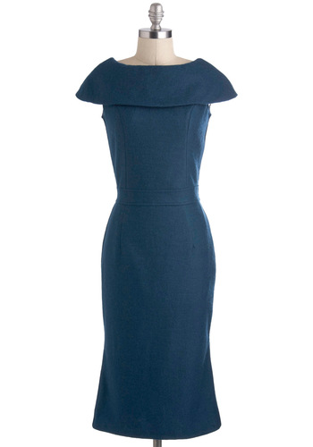 Prodigy of Poise Dress - Blue, Solid, Work, Shift, Long, Cocktail, Vintage Inspired, Cap Sleeves, 40s