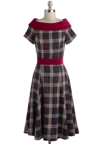 Keepin' It Old Cool Dress - Red, Plaid, A-line, Short Sleeves, Winter, Long, Vintage Inspired, Boat, Tan / Cream, Grey, Holiday Party, 50s