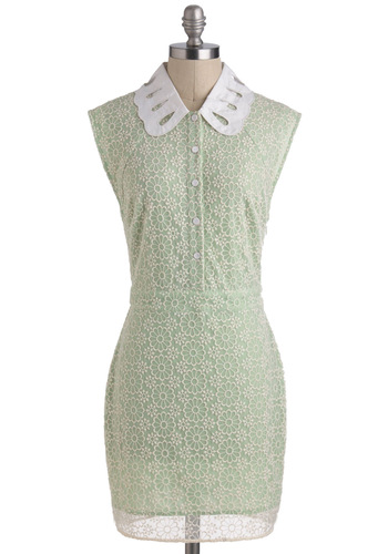 Avocado Crema Dress - Casual, Vintage Inspired, 60s, Sheath / Shift, Sleeveless, Mint, Tan / Cream, Buttons, Lace, Pastel, Collared, Short