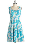 Paisley Skies Dress - Blue, Multi, Paisley, Pleats, Casual, A-line, Sleeveless, Mid-length, Fit & Flare