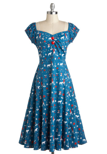 Favorite Fairy Teal Dress - Blue, Red, White, Novelty Print, Buttons, Casual, Cotton, Long, A-line, Cap Sleeves, Sweetheart, Vintage Inspired, 50s, Fit & Flare