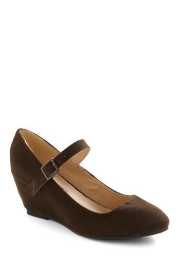 Every Walking Moment Wedge in Cocoa - Brown, Solid, Wedge, Mary Jane, Mid, Work, Casual, Variation, Faux Leather