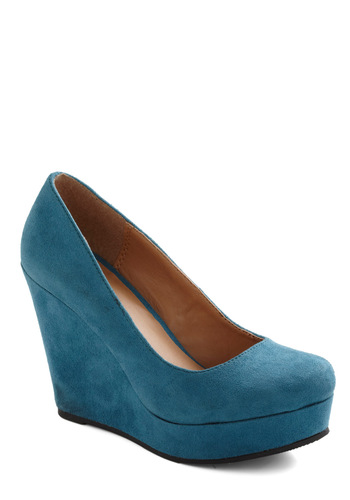 Chart Topper Wedge in Aqua - Blue, Solid, Wedge, High, Party, Girls Night Out, Urban, Variation