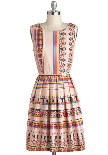 Trinkets of My Travels Dress - Pink, Multi, A-line, Casual, Print, Sleeveless, Summer, Mid-length, Daytime Party
