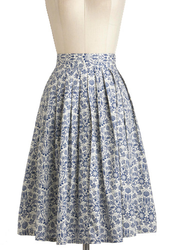 Delft Assured Skirt - White, Floral, Daytime Party, Vintage Inspired, French / Victorian, A-line, Blue, Pleats, Long