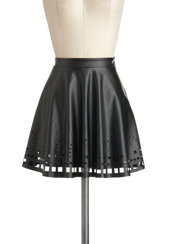 Giving on the Edge Skirt - Faux Leather, Short, Black, Solid, Cutout, Party, Girls Night Out, Urban, A-line