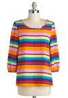 Bright Stripes Big City Top - Mid-length, Multi, Orange, Yellow, Blue, Pink, Stripes, Casual, 3/4 Sleeve