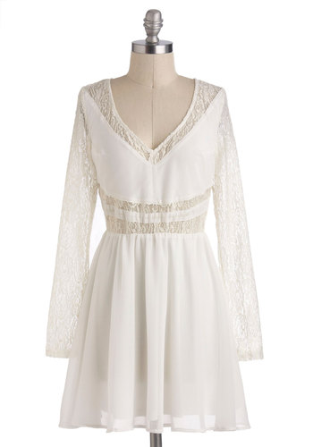 White Winged Love Dress - Sheer, Short, White, Solid, Cutout, Lace, Daytime Party, A-line, Long Sleeve, V Neck, Backless