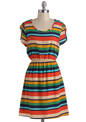 Play Series Dress - Mid-length, Multi, Stripes, Casual, A-line, Short Sleeves, Summer, Cutout, Travel