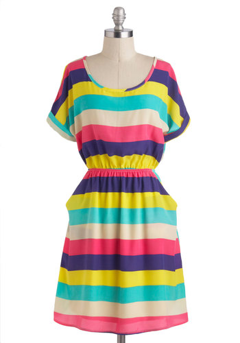 Truly Sun-sational Dress - Mid-length, Multi, Stripes, Pockets, Casual, Beach/Resort, A-line, Short Sleeves, Travel
