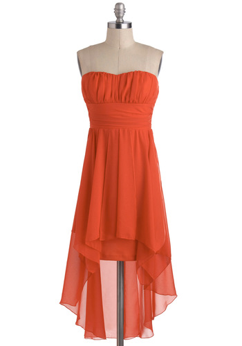 Poppy the Champagne Dress - Solid, Ruching, Empire, Strapless, Mid-length, Orange, High-Low Hem, Party, Prom