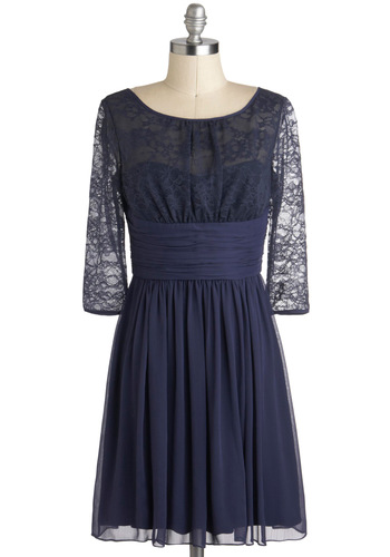 Sensationally Subtle Dress by Max and Cleo - Blue, Solid, Lace, Ruching, Cocktail, A-line, 3/4 Sleeve, Film Noir, Vintage Inspired, Mid-length