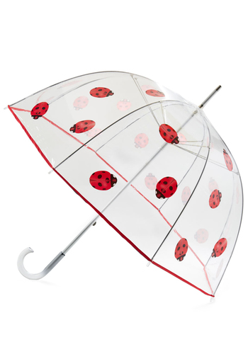 Ladybug Out Umbrella - White, Red, Black, Print with Animals, Kawaii