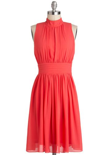 Windy City Dress in Coral - Solid, Party, A-line, Sleeveless, Coral, Beach/Resort, Mid-length, Variation, Spring, Daytime Party, Summer, Basic, Wedding, Bridesmaid