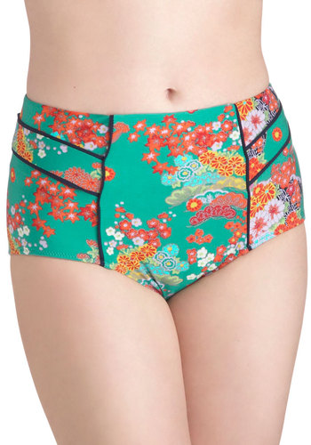 Lune and Lagoon Swimsuit Bottom in Jade - Green, Multi, Floral, Pinup, 50s, Summer, High Waist, Beach/Resort, Halter, Press Placement