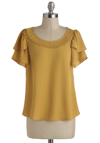 Sunlight-Hearted Top - Mid-length, Yellow, Solid, Pleats, Work, Short Sleeves