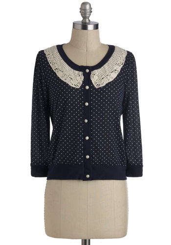 Just Dissertation Cardigan - Short, Blue, White, Polka Dots, Buttons, Crochet, Pearls, Work, Vintage Inspired, Long Sleeve, Casual