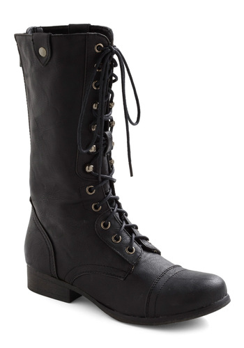 Put a Stomp to It Boot by Steve Madden - Black, Solid, Military, Lace Up, Low, 90s