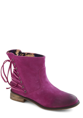 Betsey Johnson Looking for Fun Boot by Betsey Johnson - Pink, Red, Solid, Flat, Lace Up, Low, Leather, Luxe, Urban