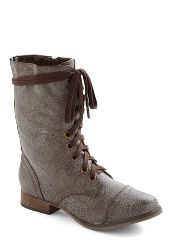 I Finally Found You Boot - Grey, Solid, Military, Lace Up, Rustic, 90s, Variation