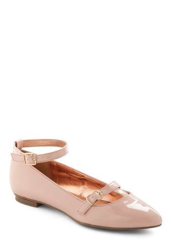 Flawless Frolic Flat - Pink, Solid, Buckles, Low, Party, Casual, Vintage Inspired, Graduation