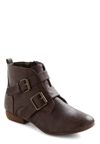 Ace of Shades Boots - Brown, Solid, Buckles, Rustic, Low, Casual
