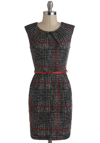 Cross the Byline Dress - Black, Red, Belted, Work, Shift, Sleeveless, Checkered / Gingham, Pockets, Vintage Inspired, 60s, Winter, Houndstooth, Plaid, Mid-length