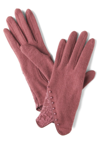 Arose in Paris Gloves - Red, Pink, Solid, Lace, Winter, Pearls, Pink