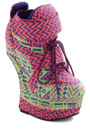 Fluorescent Explains It All Wedge - Multi, Print, High, Platform, Wedge, Lace Up, 80s
