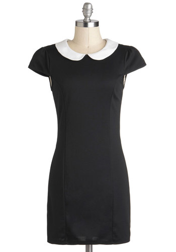 Hello Collar Dress - Short, Black, White, Exposed zipper, Peter Pan Collar, Party, Sheath / Shift, Cap Sleeves, Collared, Vintage Inspired, 60s, Mod