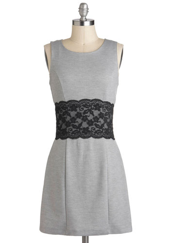Work-lace Communication Dress - Short, Grey, Black, Lace, Work, Shift, Sleeveless