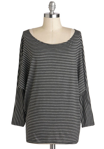 Sleeve-ing On a Jet Plane Top - Cotton, Mid-length, Multi, Black, Grey, Stripes, Casual, Long Sleeve, Scoop, Travel