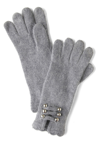 Grey Bells Ringing Gloves - Grey, Gold, Solid, Buttons, Winter