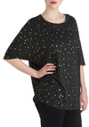 Sky Expectations Top - Black, Print, Casual, Statement, Short Sleeves, Long