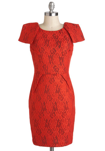 Paprika My Interest Dress - Red, Lace, Cocktail, Shift, Cap Sleeves, Mid-length, Vintage Inspired, 80s