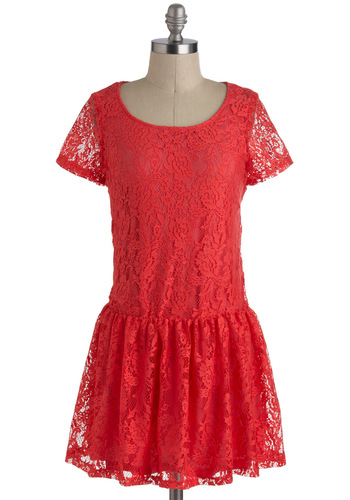 Let's Guava Party Dress - Solid, Lace, Drop Waist, Short Sleeves, Short, Red, Party, 20s, Coral