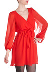 Bright by My Side Dress - Red, Solid, Long Sleeve, V Neck, Sheer, Short, Belted, Party, Empire