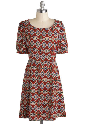 Fall into Place Dress - Red, Multi, Print, Casual, A-line, Short Sleeves, Mid-length, Folk Art