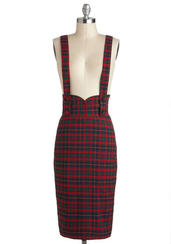 Not a Moment to Waist Skirt in Red Plaid - Long, Multi, Red, Blue, Plaid, Work, Holiday Party, Scholastic/Collegiate, Pencil, Vintage Inspired
