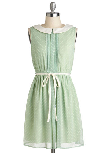 Pinch of Pistachio Dress - Chiffon, Mid-length, Green, White, Polka Dots, Belted, Casual, Vintage Inspired, Pastel, A-line, Sleeveless, Collared, Mint, Summer