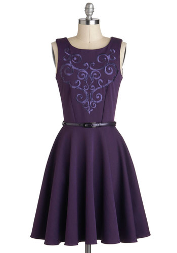 Grape Kelly Dress - Purple, Belted, Sleeveless, Mid-length, Embroidery, Exposed zipper, Party, A-line, Pockets