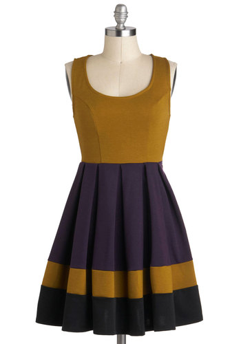 Verdant Vineyard Dress - Short, Yellow, Purple, Pleats, Casual, Colorblocking, Tank top (2 thick straps), Fall, Scoop, Mini, Fit & Flare