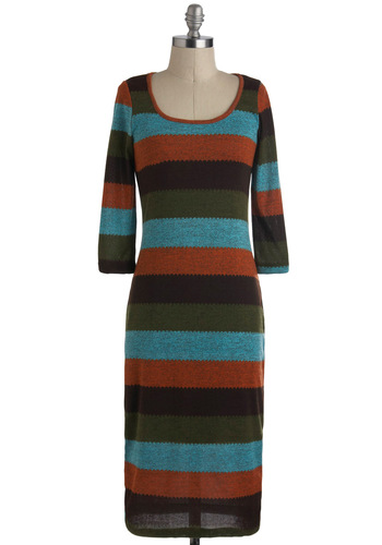 You Sweater Believe It! Dress in Earth Tones - Long, Multi, Orange, Green, Blue, Brown, Stripes, Casual, Maxi, Sweater Dress, 3/4 Sleeve, Fall, Variation