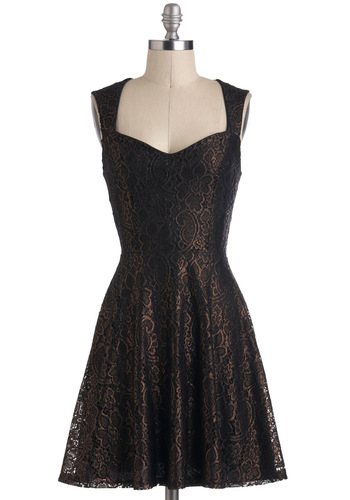 Bronze Upon a Time Dress - Solid, Cutout, Lace, Party, A-line, Mid-length, Bronze, Black, Backless, Sleeveless, Sweetheart, Holiday Party, Vintage Inspired