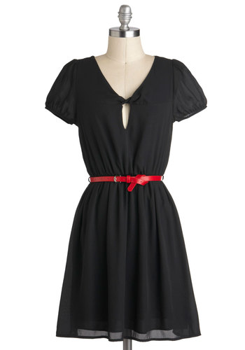 Denizen of Darling Dress - Black, Solid, Casual, A-line, Short Sleeves, Belted, Sheer, Mid-length, V Neck