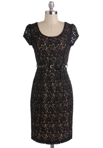 Accepting Congratulations Dress - Black, Tan / Cream, Lace, Sheath / Shift, Mid-length, Belted, Cocktail, Cap Sleeves, Holiday Party, Vintage Inspired, 50s, Pinup, Work