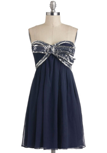 Elegance With a Sparkle Dress in Midnight - Short, Blue, Silver, Beads, Bows, Sequins, Party, Empire, Strapless, Sweetheart, Prom