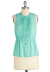 Wintermint Wonderland Top - Mid-length, Mint, Solid, Buttons, Pleats, Work, Pastel, Sleeveless, Spring, Exclusives, Summer