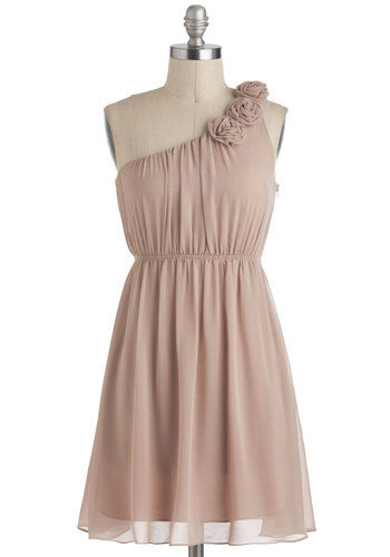 Special Some-One Shoulder Dress in Sand - Short, Tan, Solid, Flower, Party, A-line, One Shoulder, Prom, Graduation, Wedding, Bridesmaid, Summer